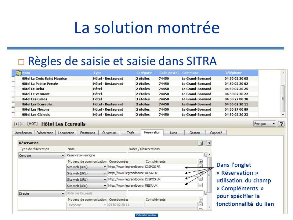 La solution montrée Règles de saisie et saisie dans SITRA Dans l onglet « Gestion » et « Typologie promo SITRA » cocher la prestation « Réservation en ligne »