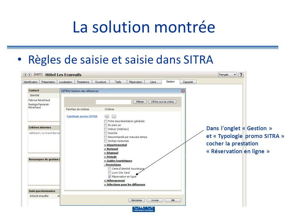 La solution montrée Cas particulier : saisie pour les COS Ce type d objets n ayant pas d onglet « Réservation » dans SITRA nous avons créé un champ « lien de réservation » dans notre CMS.