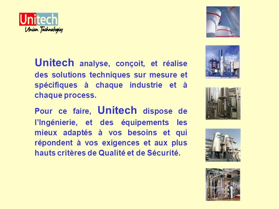 Unitech analyse, conçoit, et réalise des solutions techniques sur mesure et spécifiques à chaque industrie et à chaque process. Pour ce faire, Unitech