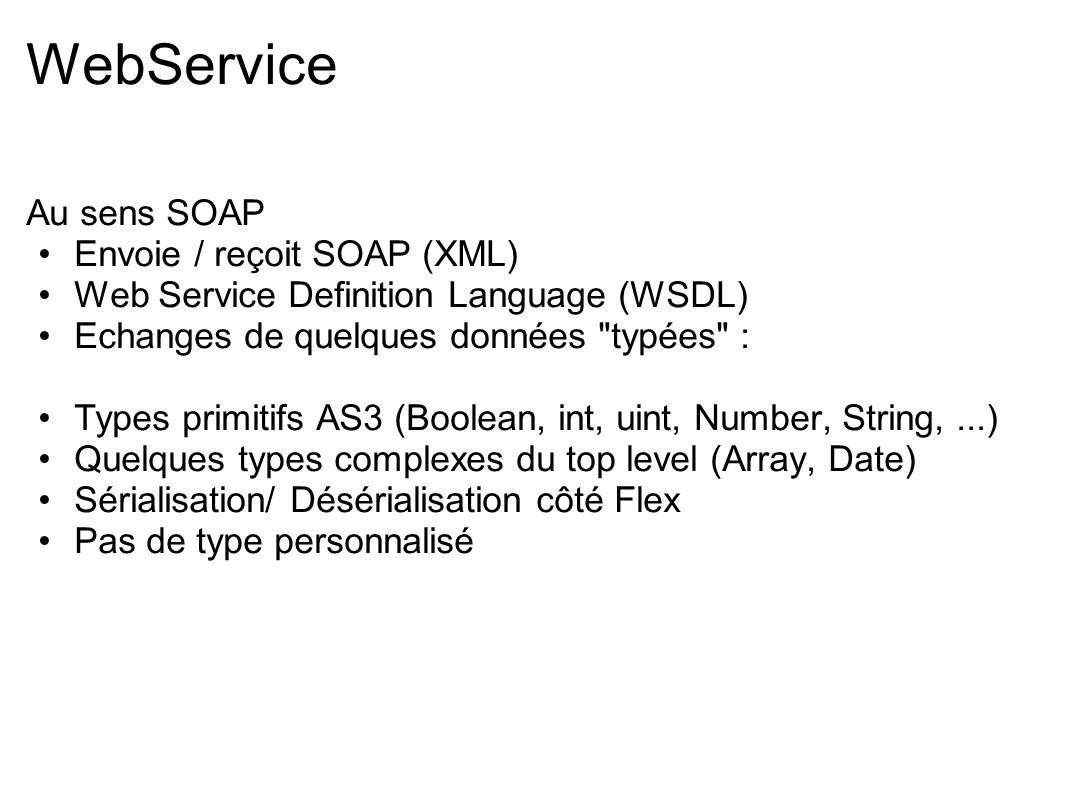 WebService Au sens SOAP Envoie / reçoit SOAP (XML) Web Service Definition Language (WSDL) Echanges de quelques données