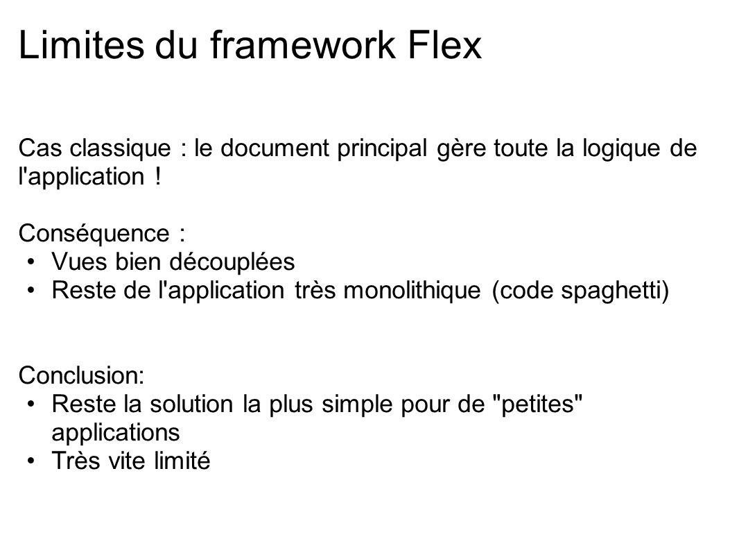 Limites du framework Flex Cas classique : le document principal gère toute la logique de l'application ! Conséquence : Vues bien découplées Reste de l