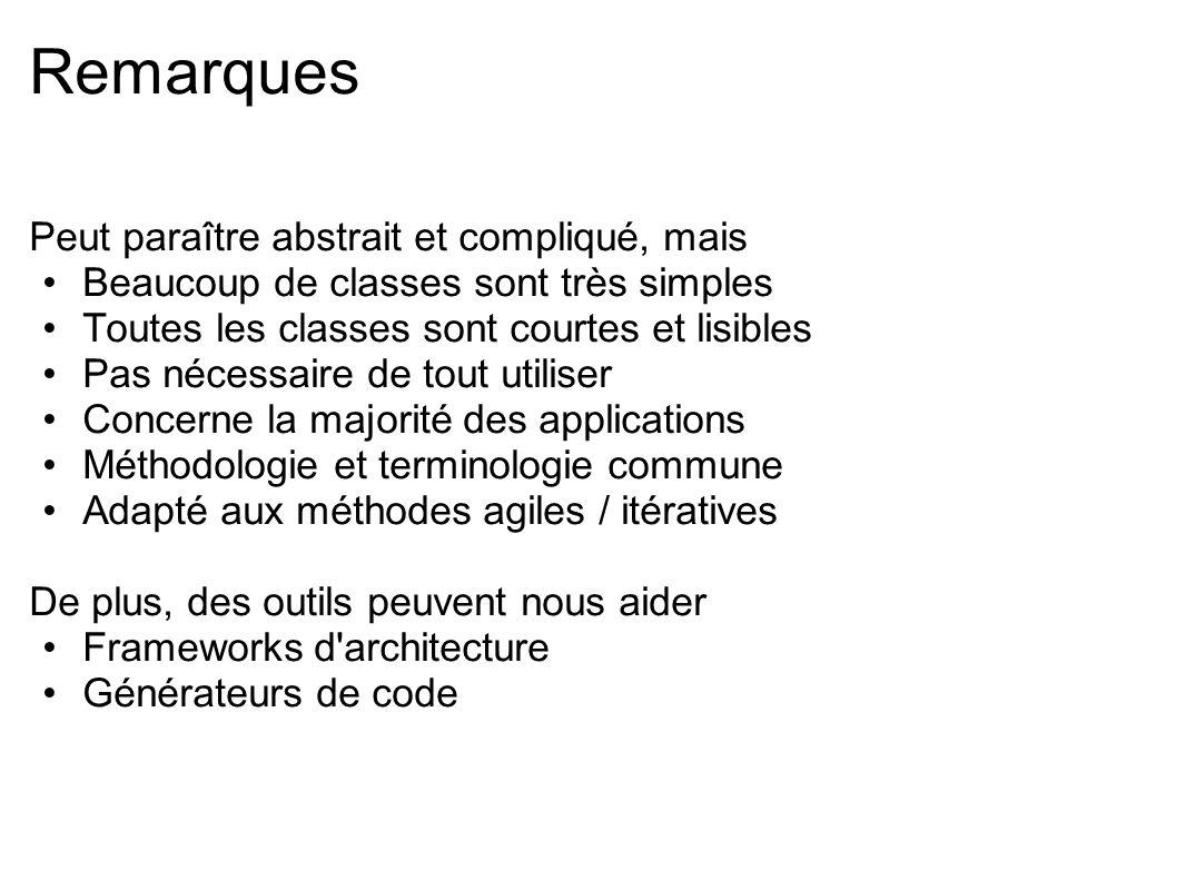 Remarques Peut paraître abstrait et compliqué, mais Beaucoup de classes sont très simples Toutes les classes sont courtes et lisibles Pas nécessaire d