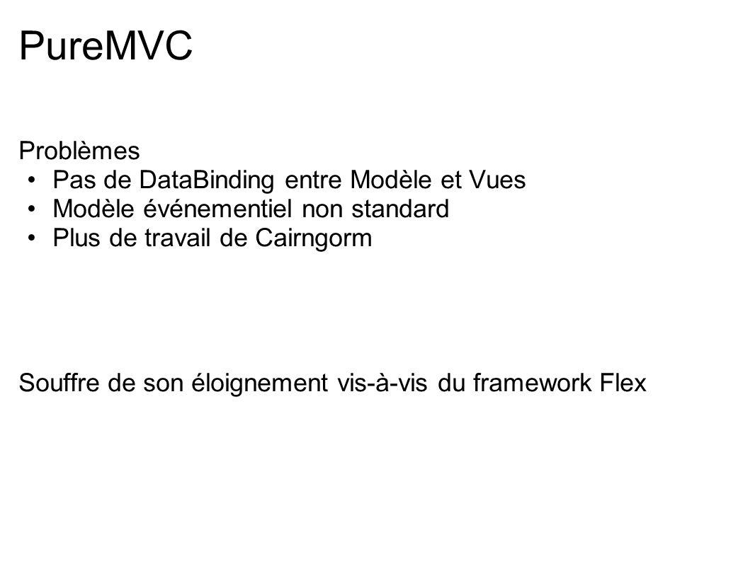 PureMVC Problèmes Pas de DataBinding entre Modèle et Vues Modèle événementiel non standard Plus de travail de Cairngorm Souffre de son éloignement vis