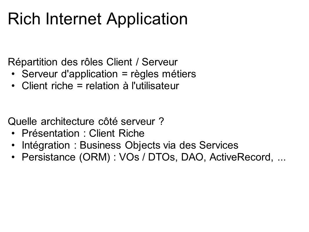 Répartition des rôles Client / Serveur Serveur d'application = règles métiers Client riche = relation à l'utilisateur Quelle architecture côté serveur