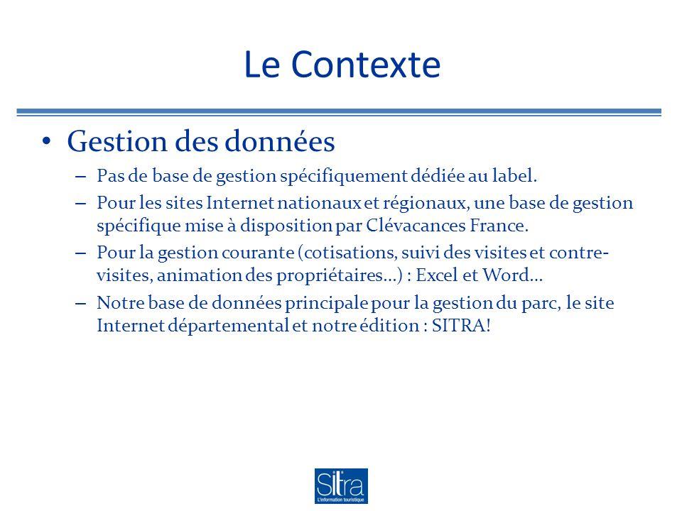 Le Contexte Gestion des données – Pas de base de gestion spécifiquement dédiée au label. – Pour les sites Internet nationaux et régionaux, une base de