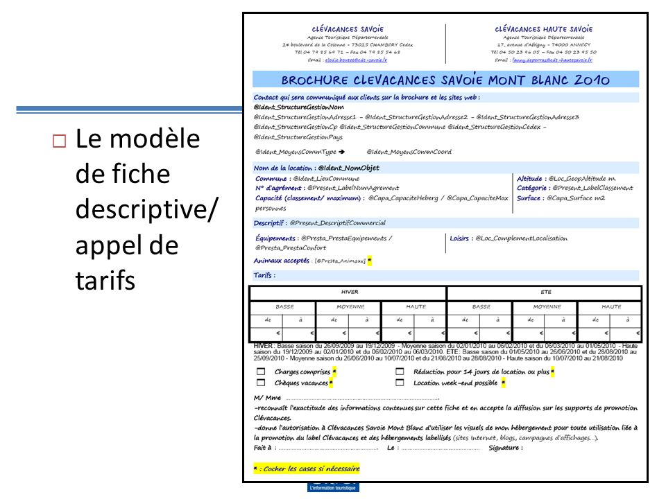 La solution montrée Le modèle de fiche descriptive/ appel de tarifs