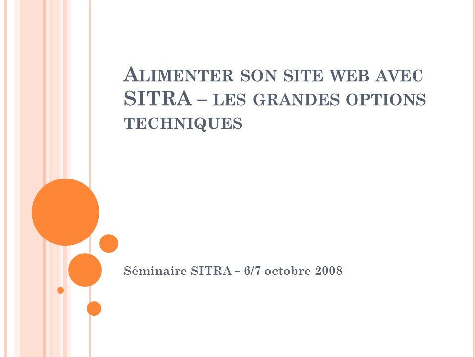 A LIMENTER SON SITE WEB AVEC SITRA – LES GRANDES OPTIONS TECHNIQUES Séminaire SITRA – 6/7 octobre 2008