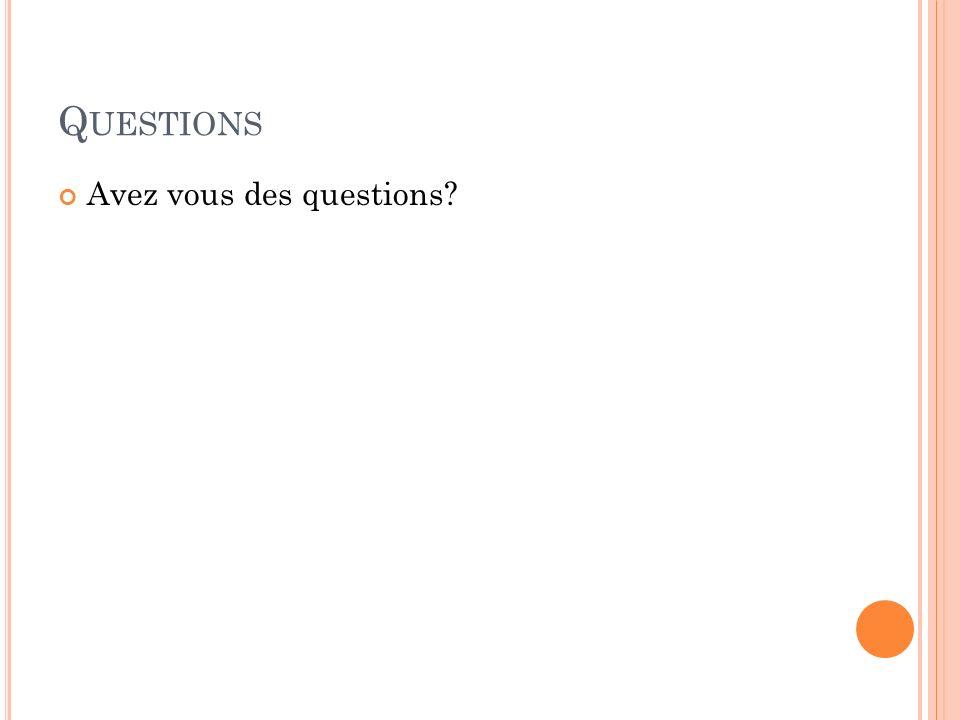 Q UESTIONS Avez vous des questions?
