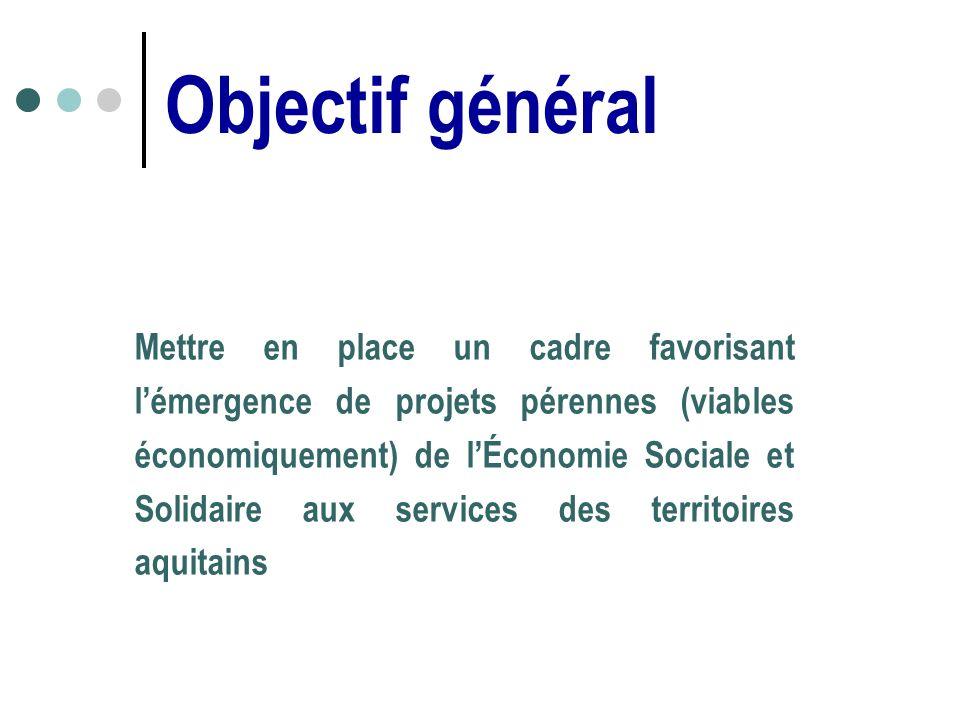 Objectif général Mettre en place un cadre favorisant lémergence de projets pérennes (viables économiquement) de lÉconomie Sociale et Solidaire aux services des territoires aquitains