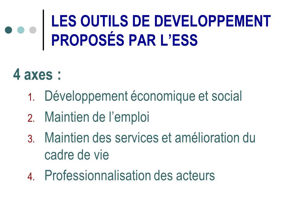 4 axes : 1.Développement économique et social 2. Maintien de lemploi 3.