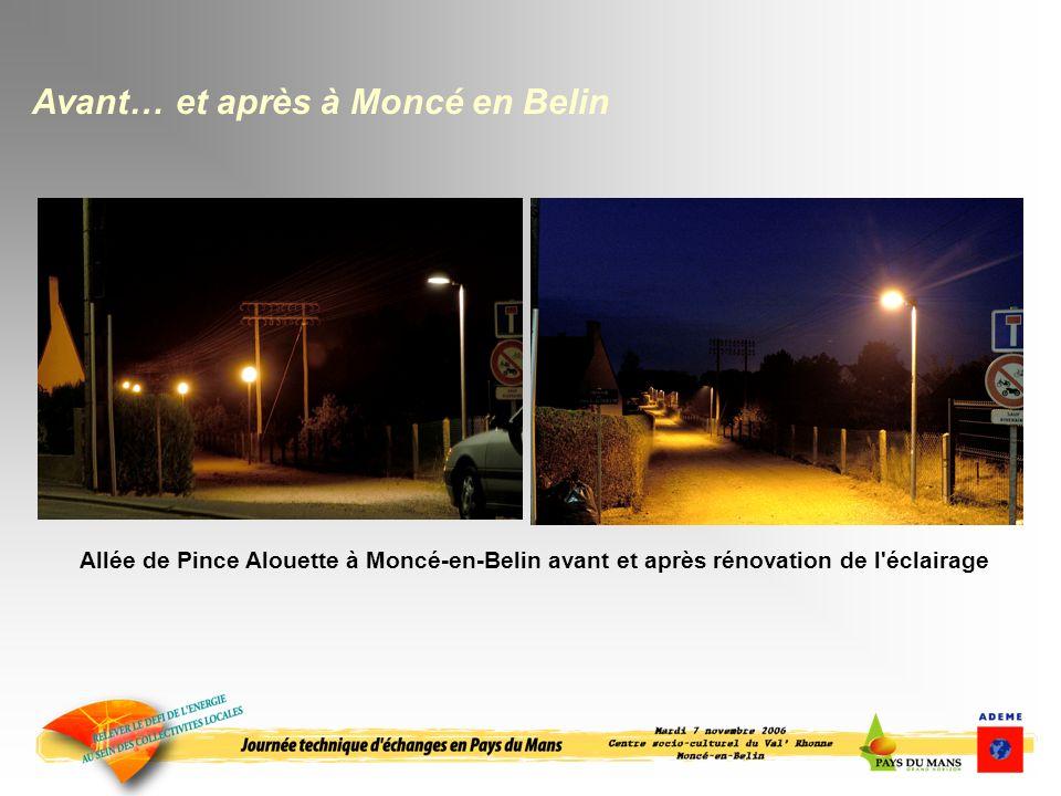 Allée de Pince Alouette à Moncé-en-Belin avant et après rénovation de l éclairage Avant… et après à Moncé en Belin