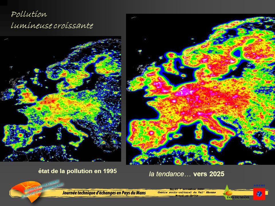 Pollution lumineuse croissante état de la pollution en 1995 la tendance… vers 2025