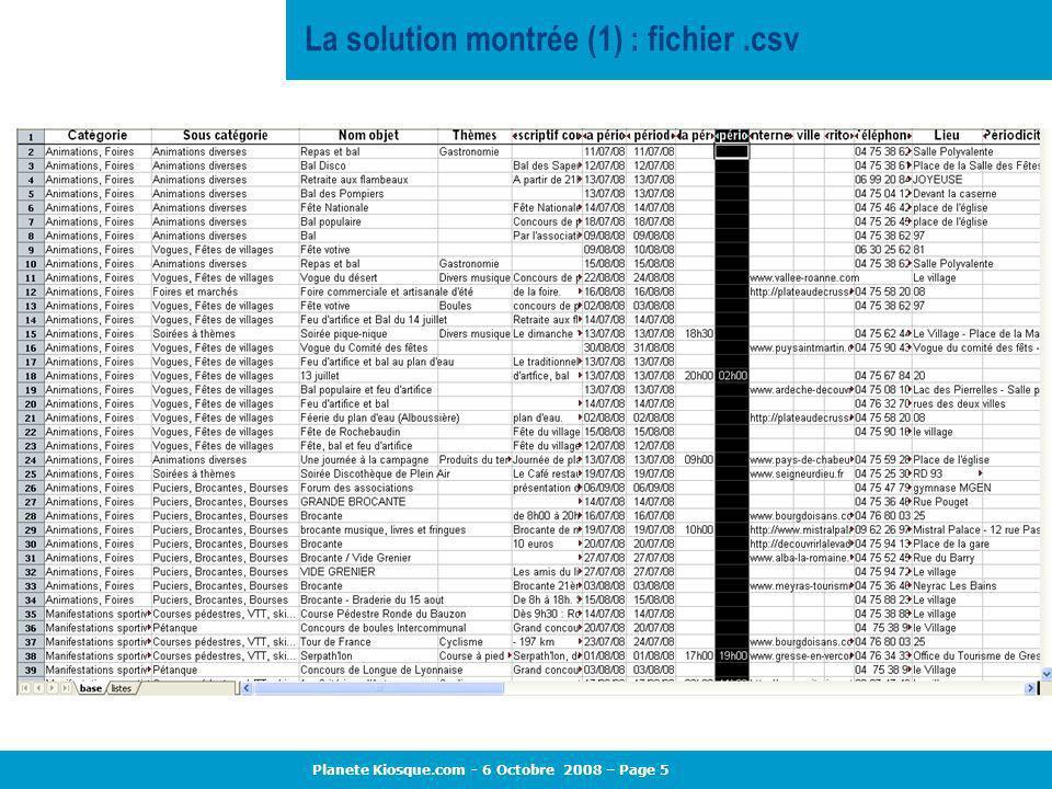 Planete Kiosque.com - 6 Octobre 2008 – Page 5 La solution montrée (1) : fichier.csv