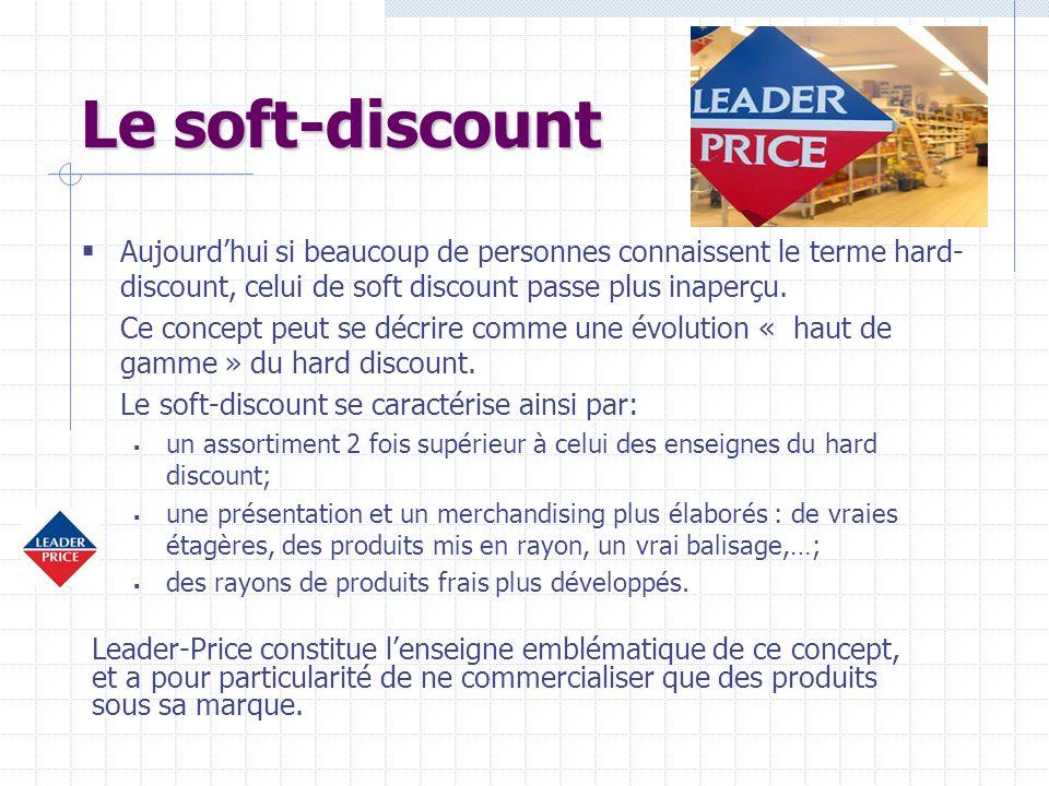 Le soft-discount Aujourdhui si beaucoup de personnes connaissent le terme hard- discount, celui de soft discount passe plus inaperçu. Ce concept peut
