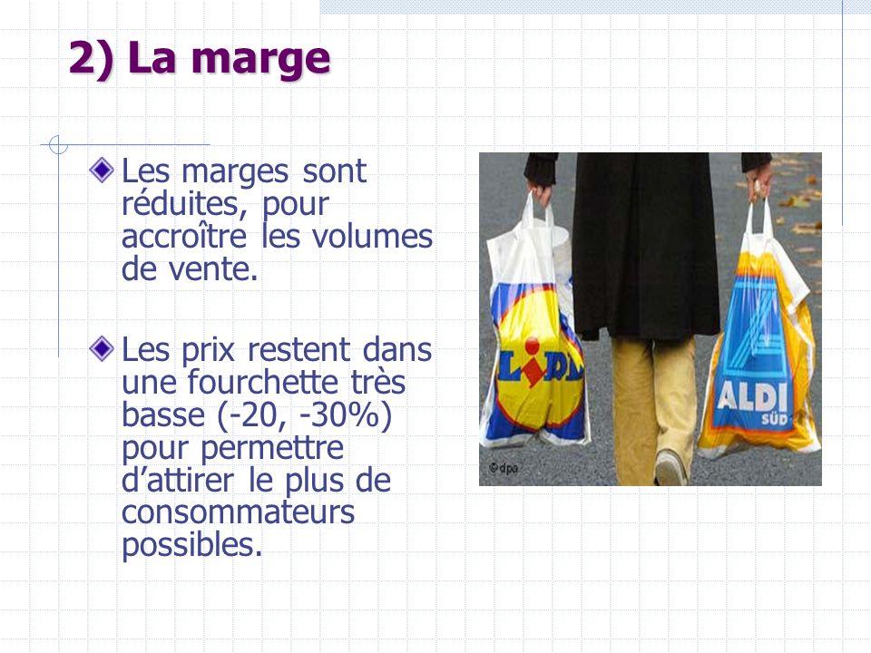 2) La marge Les marges sont réduites, pour accroître les volumes de vente. Les prix restent dans une fourchette très basse (-20, -30%) pour permettre
