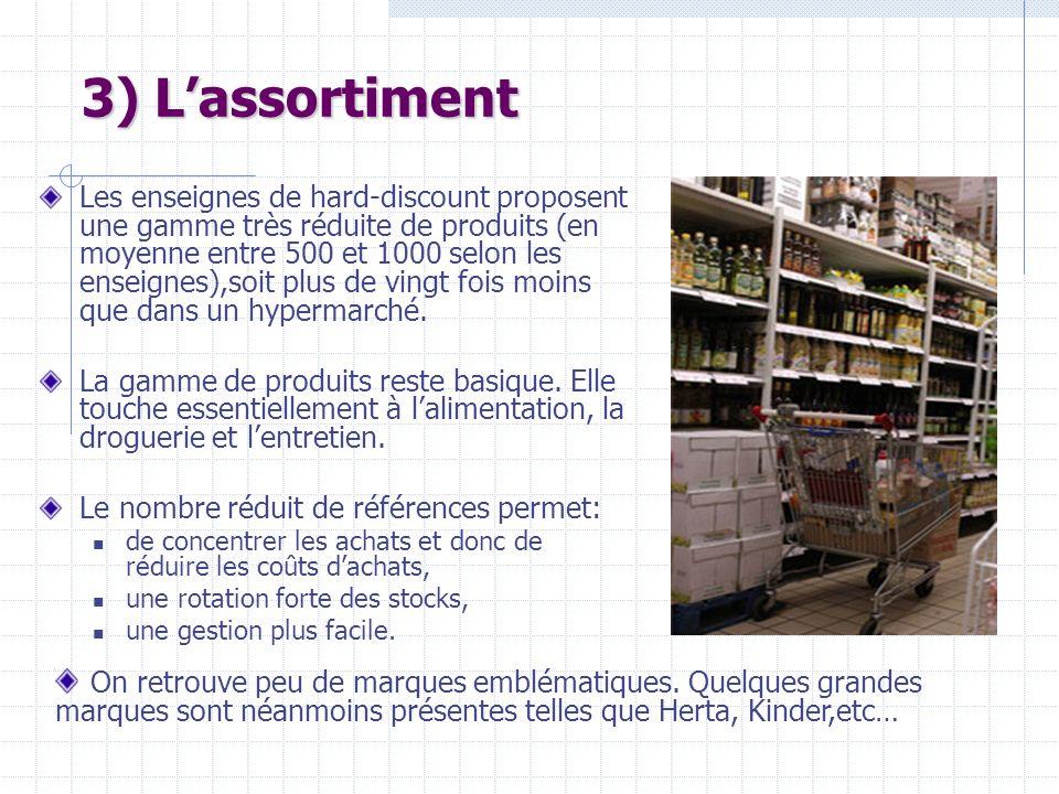 3) Lassortiment Les enseignes de hard-discount proposent une gamme très réduite de produits (en moyenne entre 500 et 1000 selon les enseignes),soit pl