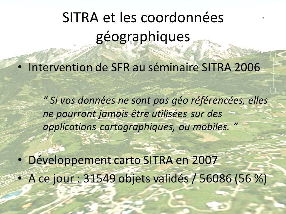 SITRA et les coordonnées géographiques Intervention de SFR au séminaire SITRA 2006 Si vos données ne sont pas géo référencées, elles ne pourront jamai