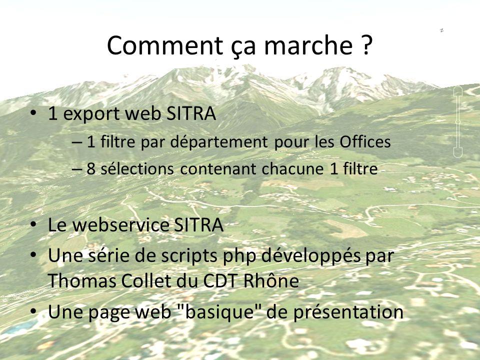 Comment ça marche ? 1 export web SITRA – 1 filtre par département pour les Offices – 8 sélections contenant chacune 1 filtre Le webservice SITRA Une s