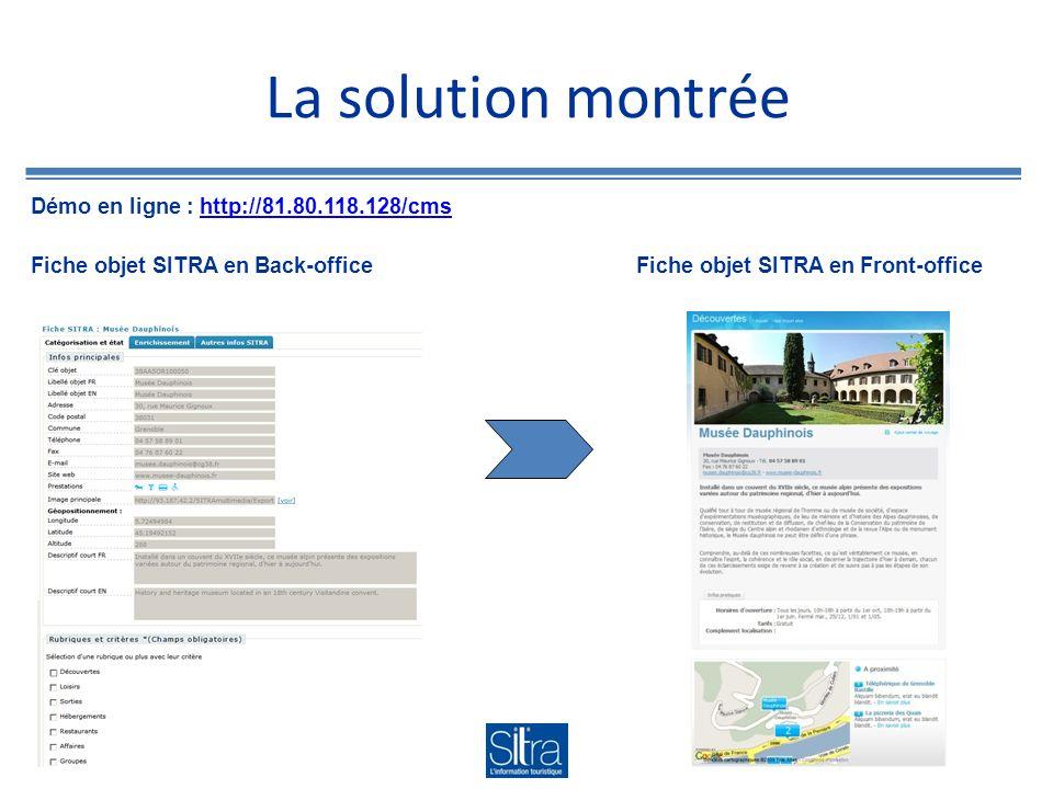 La solution montrée Fiche objet SITRA en Back-officeFiche objet SITRA en Front-office Démo en ligne : http://81.80.118.128/cmshttp://81.80.118.128/cms