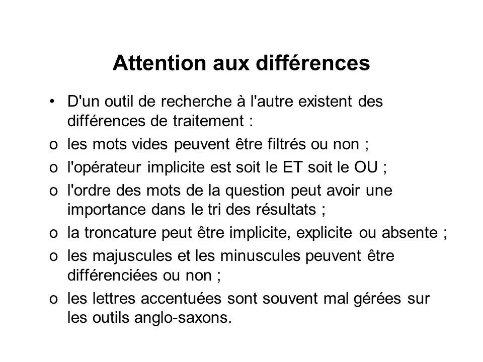 Attention aux différences D'un outil de recherche à l'autre existent des différences de traitement : oles mots vides peuvent être filtrés ou non ; ol'