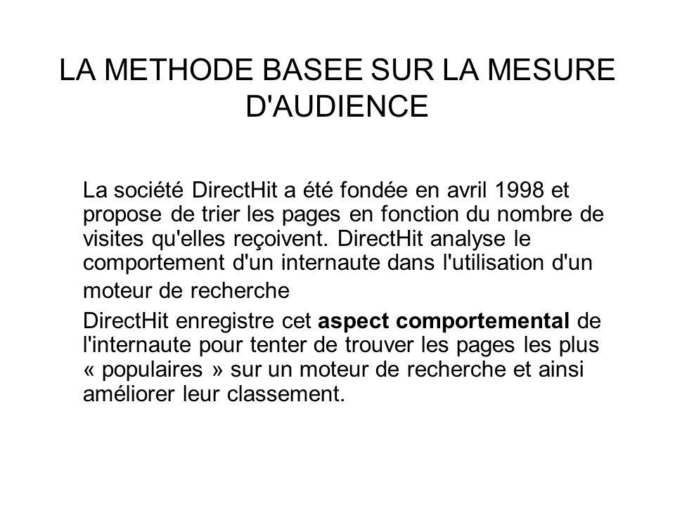LA METHODE BASEE SUR LA MESURE D'AUDIENCE La société DirectHit a été fondée en avril 1998 et propose de trier les pages en fonction du nombre de visit