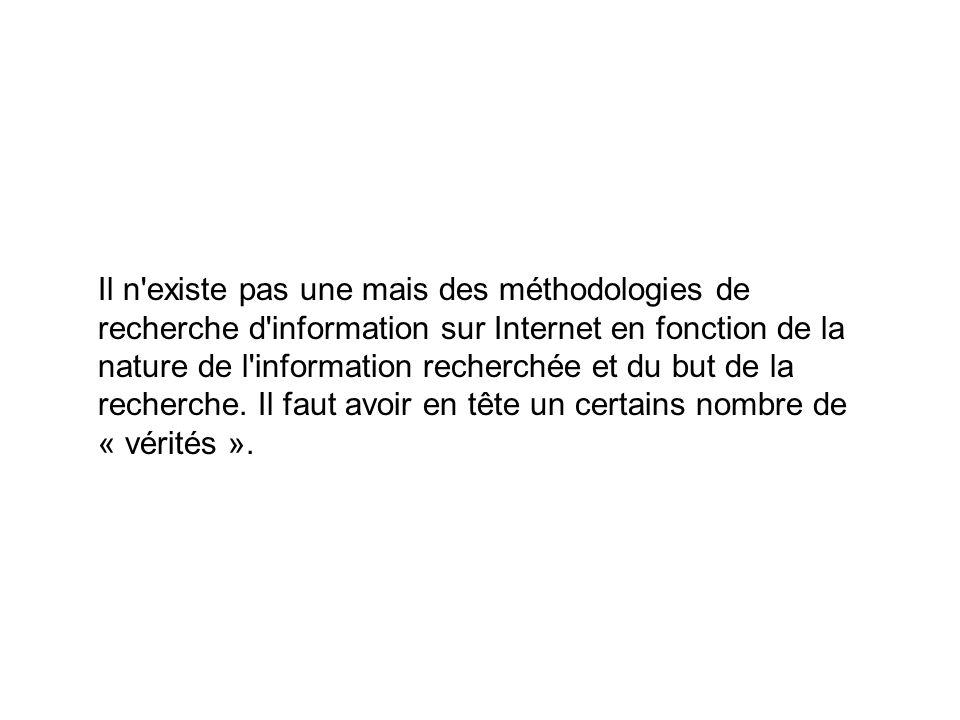 Il n'existe pas une mais des méthodologies de recherche d'information sur Internet en fonction de la nature de l'information recherchée et du but de l