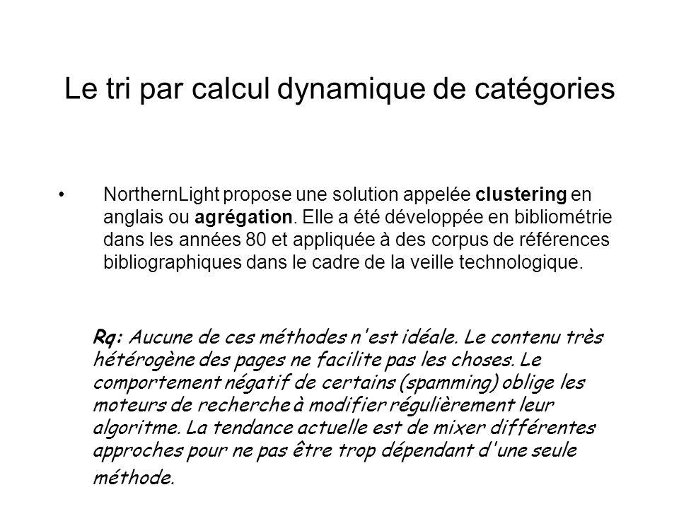Le tri par calcul dynamique de catégories NorthernLight propose une solution appelée clustering en anglais ou agrégation. Elle a été développée en bib