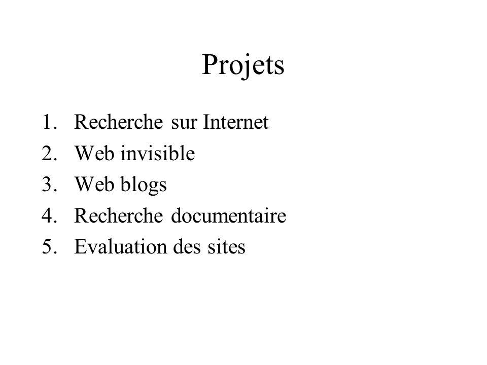 Projets 1.Recherche sur Internet 2.Web invisible 3.Web blogs 4.Recherche documentaire 5.Evaluation des sites