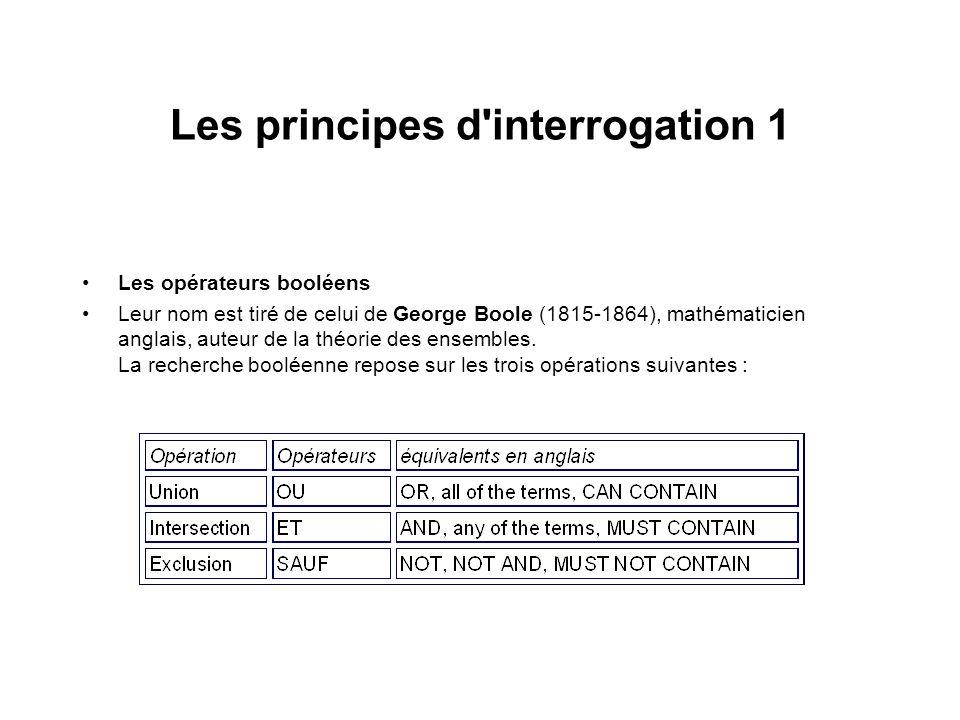 Les principes d'interrogation 1 Les opérateurs booléens Leur nom est tiré de celui de George Boole (1815-1864), mathématicien anglais, auteur de la th