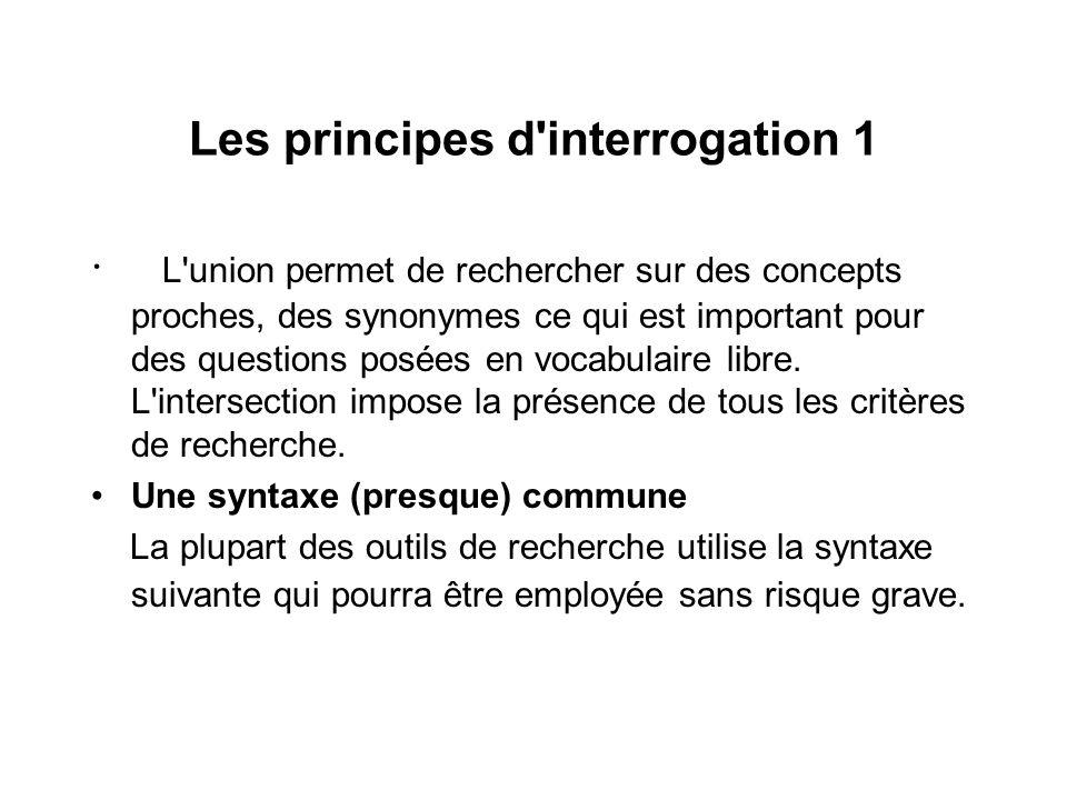 Les principes d'interrogation 1 · L'union permet de rechercher sur des concepts proches, des synonymes ce qui est important pour des questions posées
