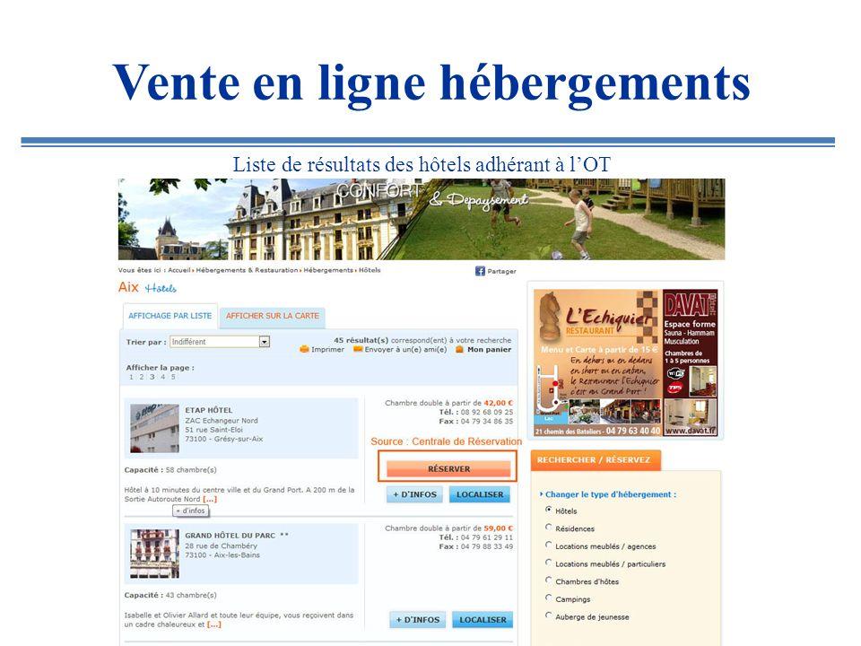 Vente en ligne hébergements Liste de résultats des hôtels adhérant à lOT