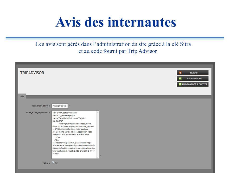Les avis sont gérés dans ladministration du site grâce à la clé Sitra et au code fourni par Trip Advisor