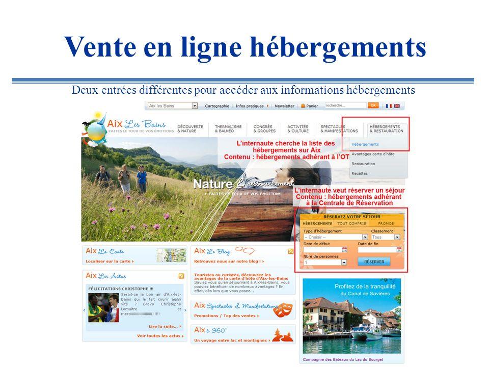 Vente en ligne hébergements Liste de résultats des hôtels adhérant à la Centrale de Réservation.