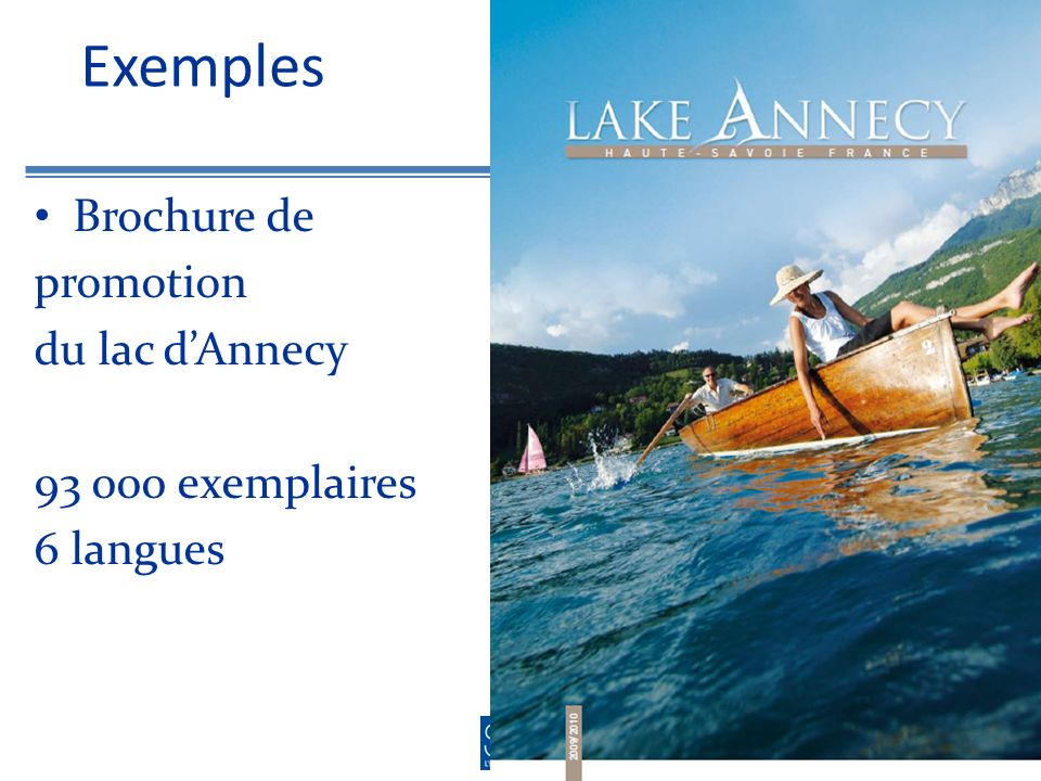 Exemples Brochure de promotion du lac dAnnecy exemplaires 6 langues