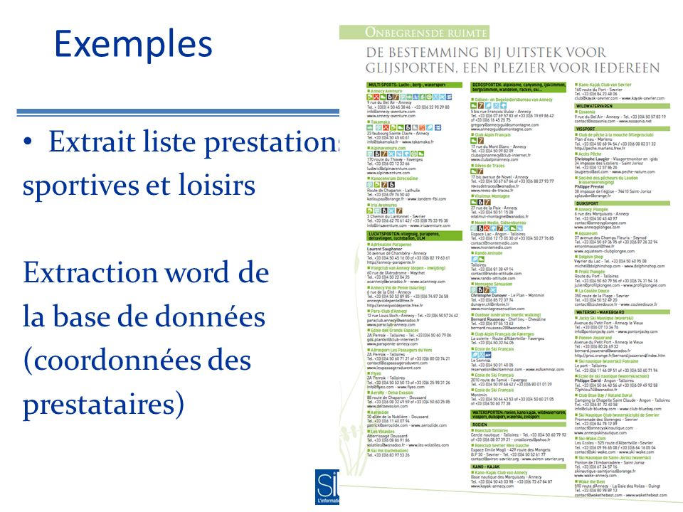 Exemples Extrait liste prestations sportives et loisirs Extraction word de la base de données (coordonnées des prestataires)