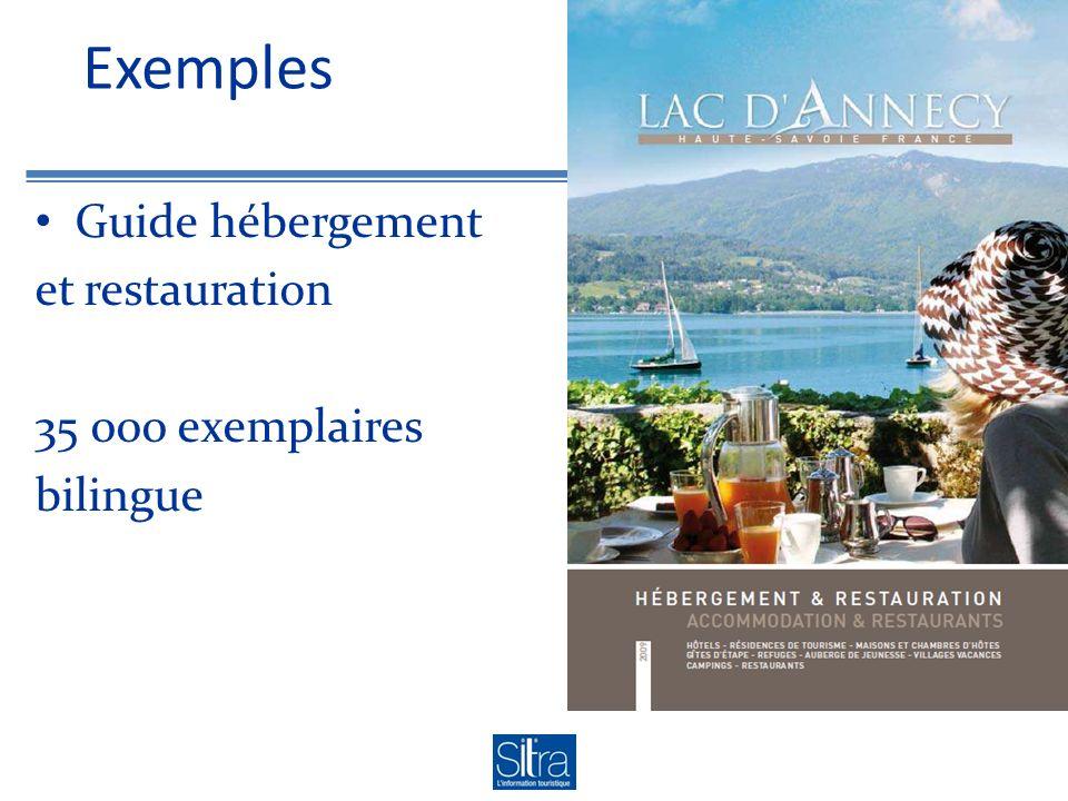 Exemples Guide hébergement et restauration 35 000 exemplaires bilingue