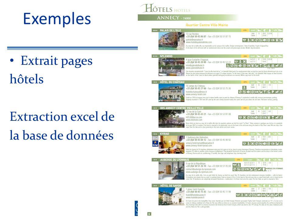 Exemples Extrait pages hôtels Extraction excel de la base de données