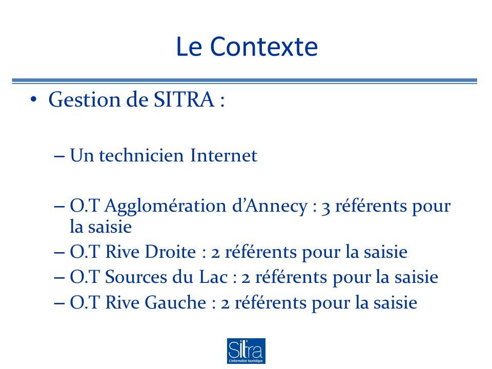 Le Contexte Gestion de SITRA : – Un technicien Internet – O.T Agglomération dAnnecy : 3 référents pour la saisie – O.T Rive Droite : 2 référents pour la saisie – O.T Sources du Lac : 2 référents pour la saisie – O.T Rive Gauche : 2 référents pour la saisie