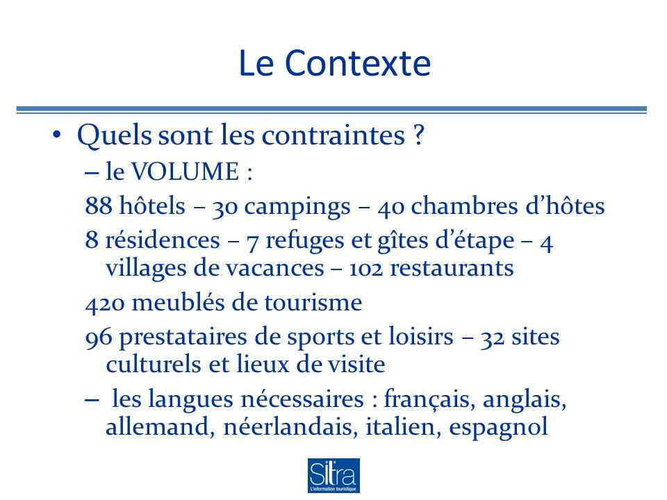 Le Contexte Quels sont les contraintes ? – le VOLUME : 88 hôtels – 30 campings – 40 chambres dhôtes 8 résidences – 7 refuges et gîtes détape – 4 villa