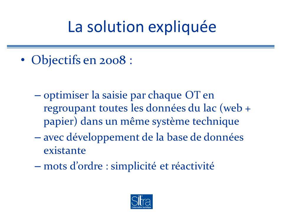 La solution expliquée Objectifs en 2008 : – optimiser la saisie par chaque OT en regroupant toutes les données du lac (web + papier) dans un même système technique – avec développement de la base de données existante – mots dordre : simplicité et réactivité