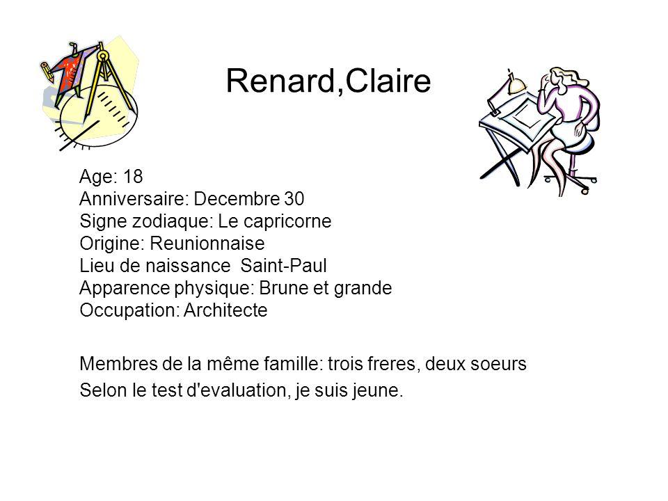 Renard,Claire Age: 18 Anniversaire: Decembre 30 Signe zodiaque: Le capricorne Origine: Reunionnaise Lieu de naissance Saint-Paul Apparence physique: B