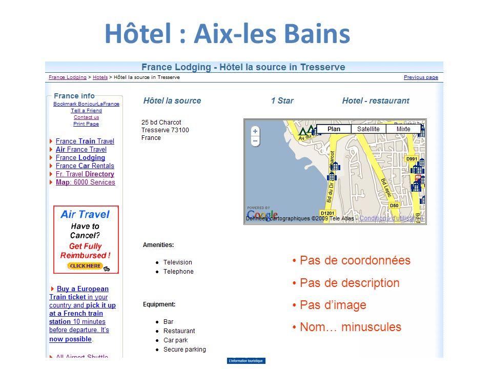 Hôtel : Aix-les Bains Pas de coordonnées Pas de description Pas dimage Nom… minuscules