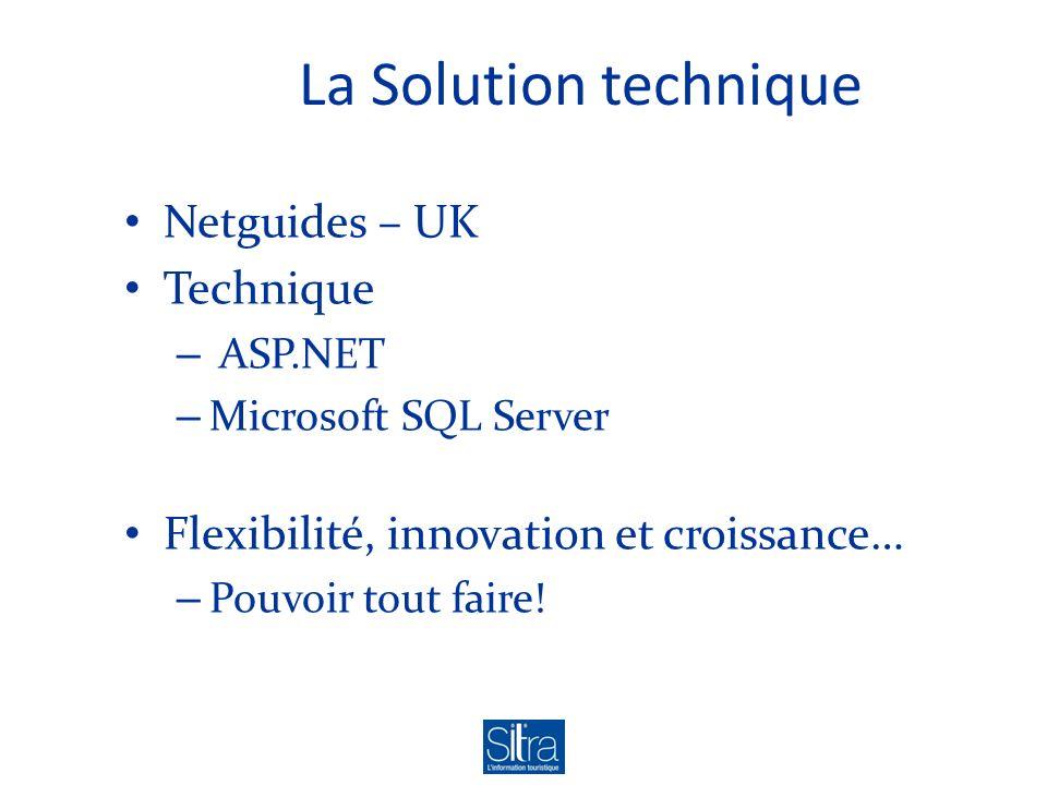 La Solution technique Netguides – UK Technique – ASP.NET – Microsoft SQL Server Flexibilité, innovation et croissance… – Pouvoir tout faire!