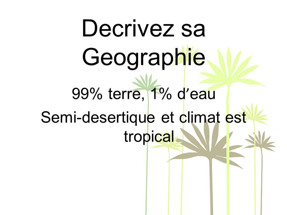 Decrivez sa Geographie 99% terre, 1% d eau Semi-desertique et climat est tropical