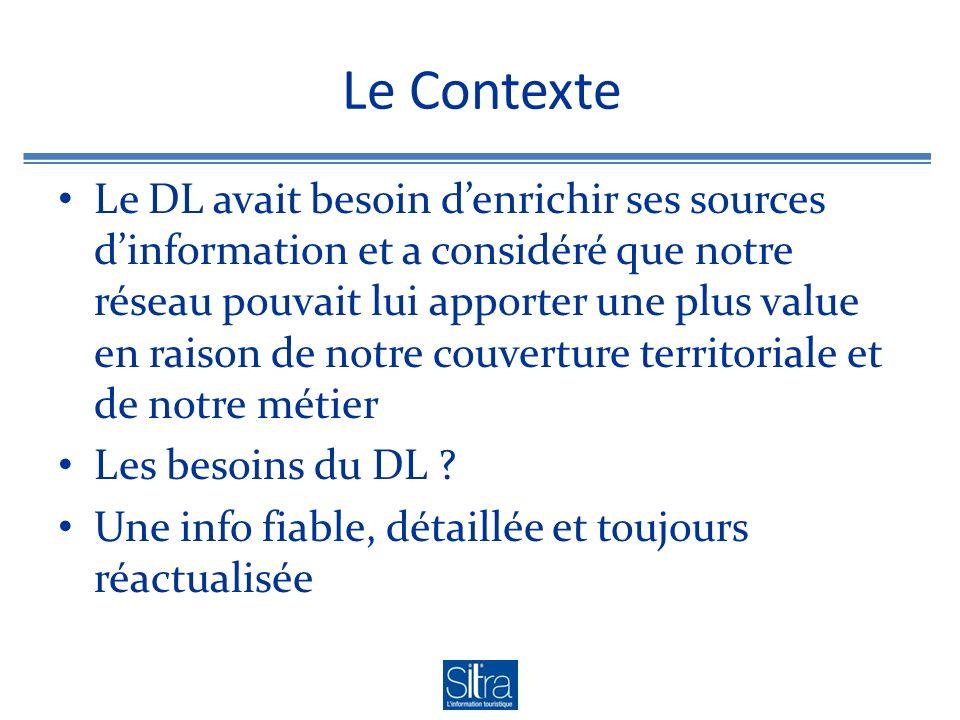 Le Contexte Le DL avait besoin denrichir ses sources dinformation et a considéré que notre réseau pouvait lui apporter une plus value en raison de notre couverture territoriale et de notre métier Les besoins du DL .