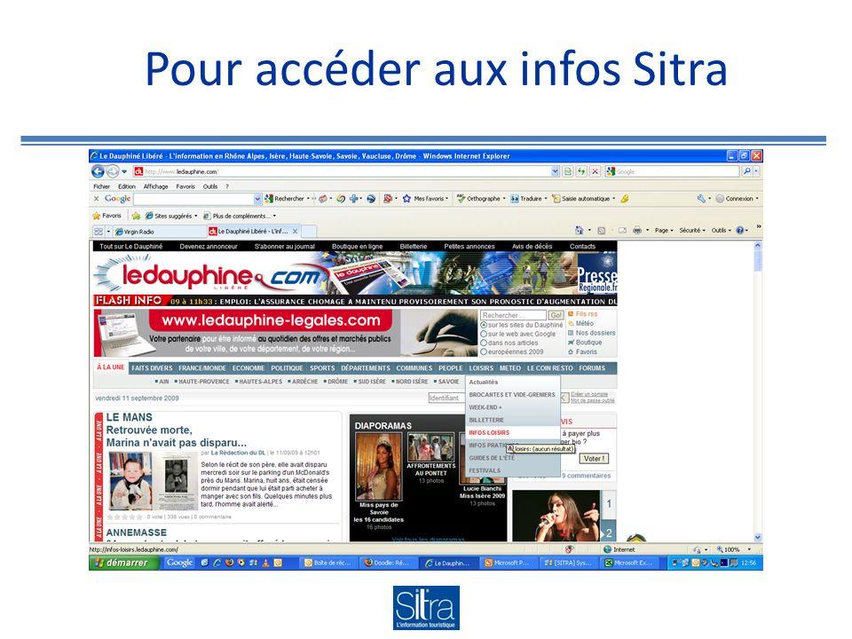 Pour accéder aux infos Sitra