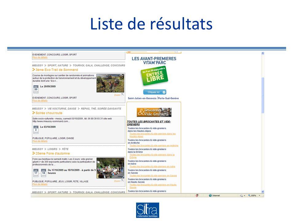 Liste de résultats