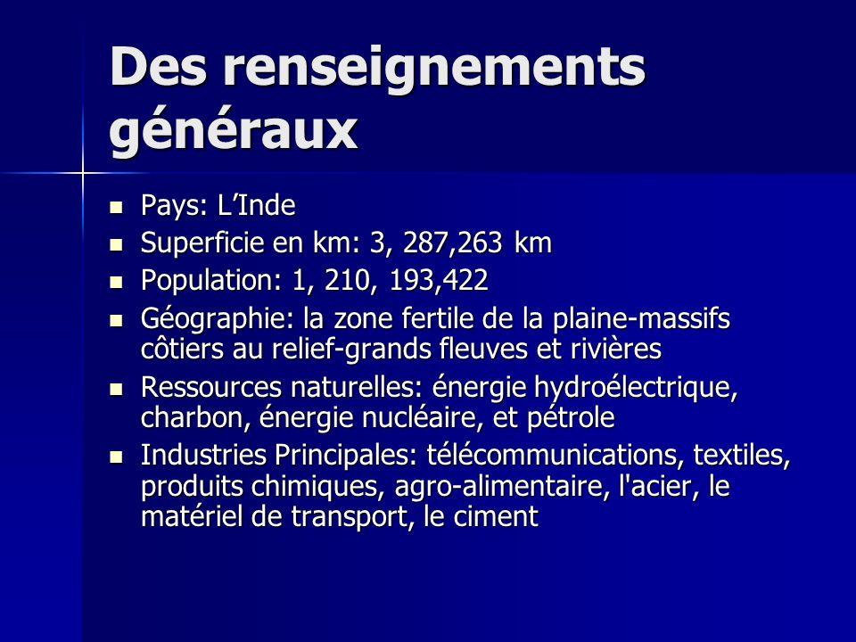 Des renseignements généraux Pays: LInde Pays: LInde Superficie en km: 3, 287,263 km Superficie en km: 3, 287,263 km Population: 1, 210, 193,422 Popula