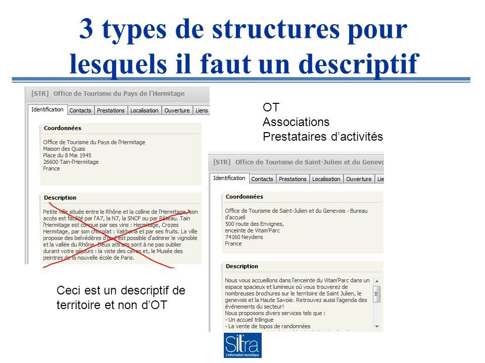 3 types de structures pour lesquels il faut un descriptif OT Associations Prestataires dactivités Ceci est un descriptif de territoire et non dOT