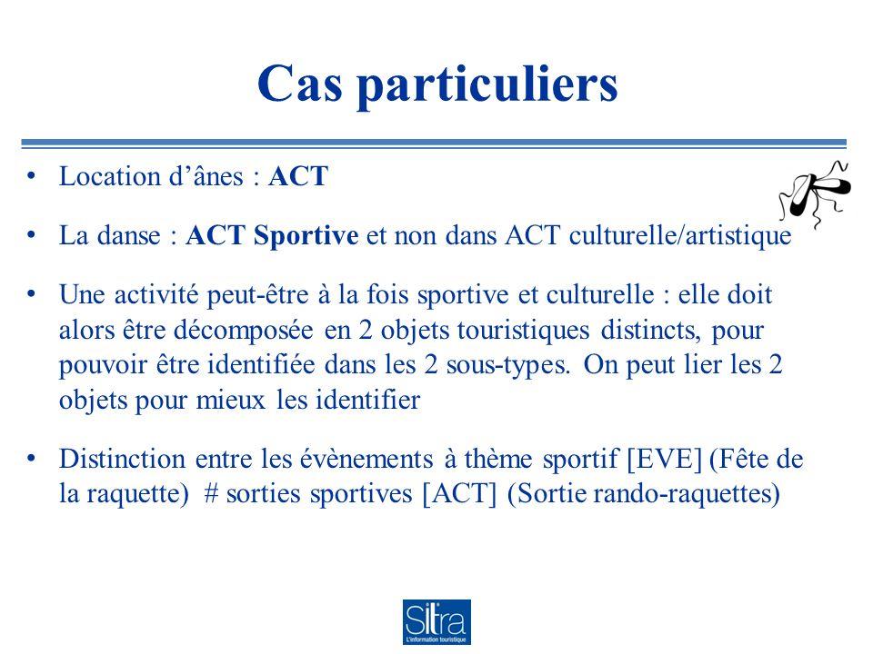 Cas particuliers Location dânes : ACT La danse : ACT Sportive et non dans ACT culturelle/artistique Une activité peut-être à la fois sportive et cultu